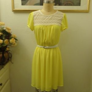 Forever 21 Yellow Lace Babydoll Dress